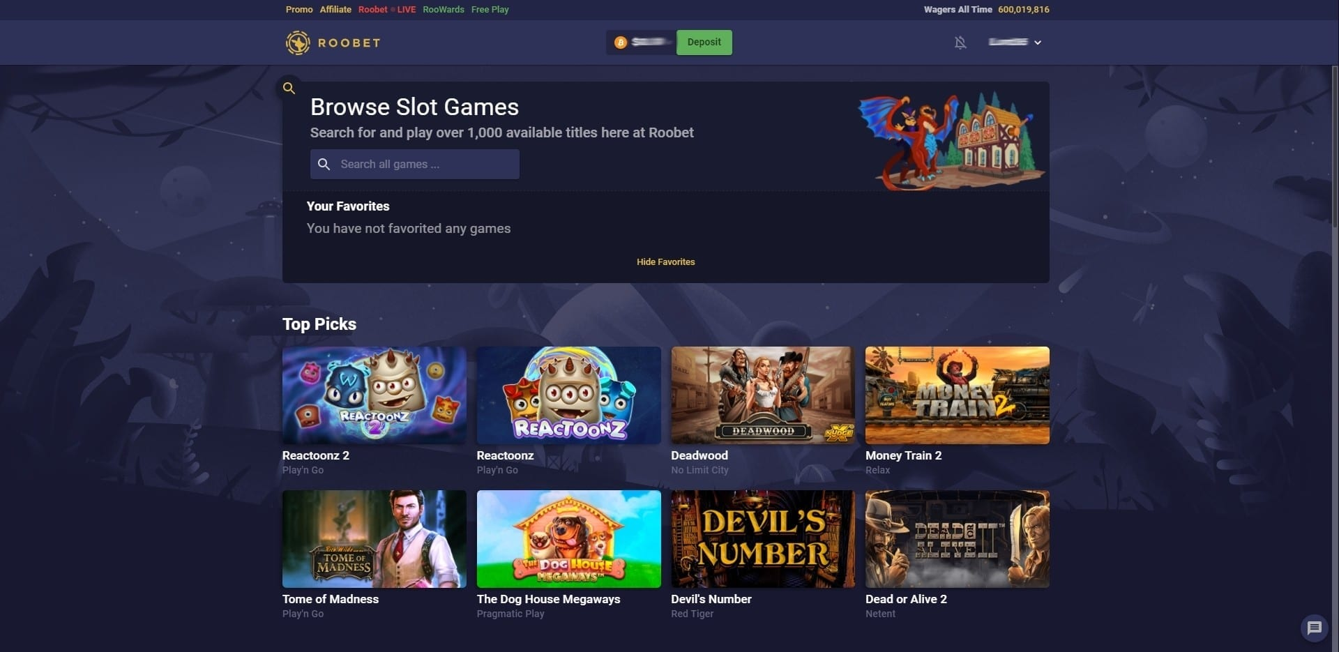 Roobets Slots Overview